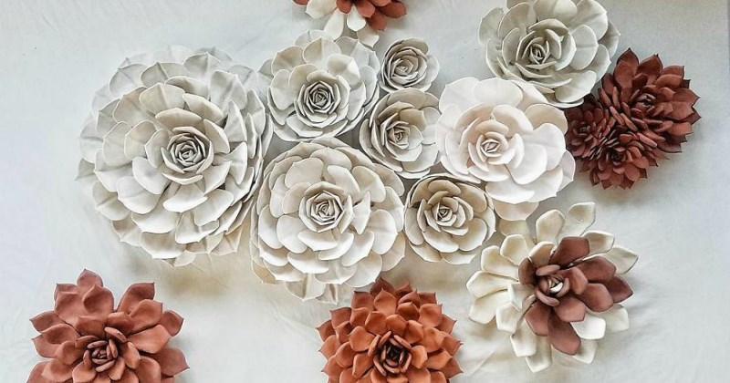 clay succulents - short fat flowers - made of clay