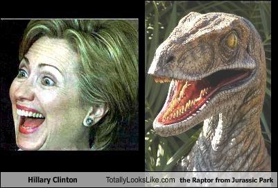 dinosaurs Hillary Clinton Jurrasic Park politics Raptor secretary of state - 1696715008