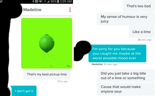 guy continuously making jokes about limes on tinder