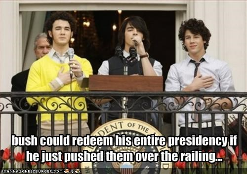 george w bush,jonas brothers,music is dead,president,Republicans