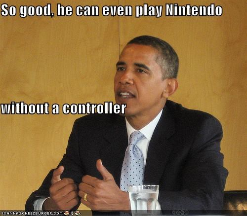 So good, he can even play Nintendo without a controller