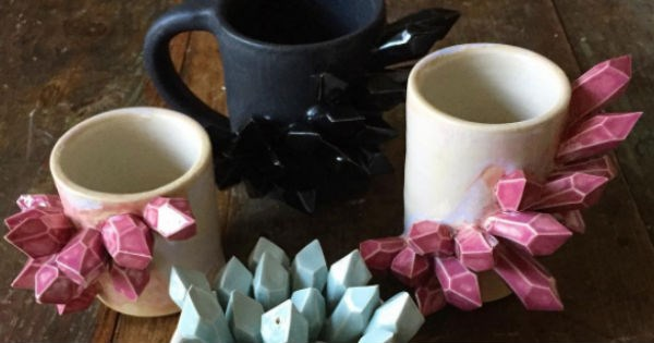 ceramic coffee mug crystals etsy crafts mug - 1746949