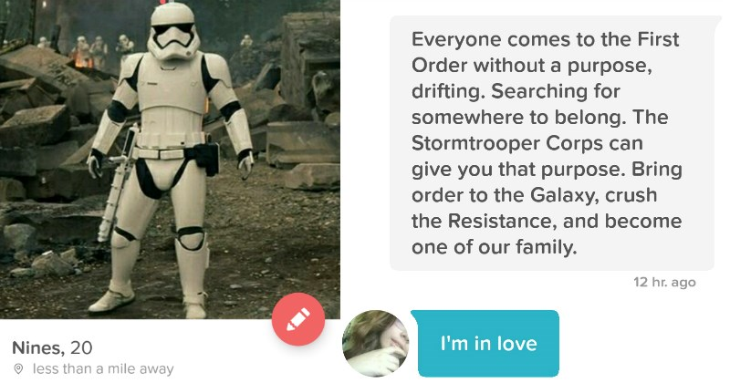 The Force is Totally With This Guy Who Turned His Tinder Profile Into a Storm Trooper