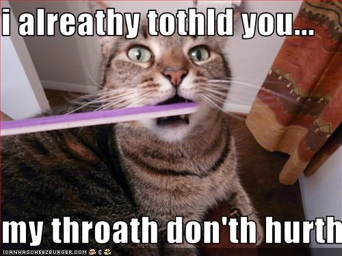 Funny Memes For Friday The Th : I alreathy tothld you my throath don th hurth cheezburger