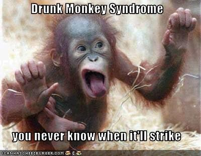 Drunk Monkey Syndrome You Never Know When Itll Strike Cheezburger