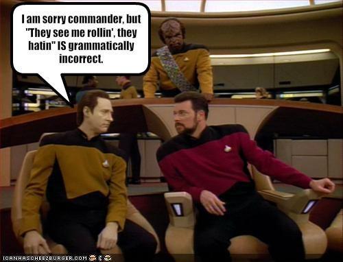 brent spiner grammar incorrect Jonathan Frakes Michael Dorn sci fi Star Trek TV - 1833377536