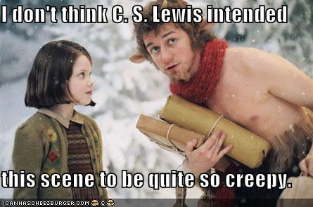 cs lewis,chronicles of narnia,creepy,georgie henley,james mcavoy