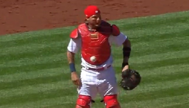 MLB Gets Mildly Entertaining For Hot Second As Ball Gets 'Magically' Stuck To Catcher's Chest Protector