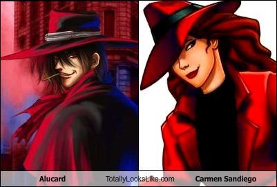 alucard,anime,carmen sandiego,cartoons