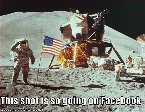 American Flag astronaut facebook moon space - 1932701952