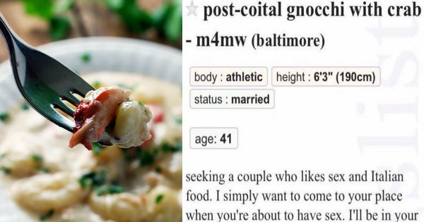 Craigslist ad offering to cook crab gnocchi during sex.