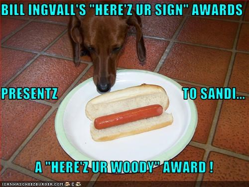 BILL INGVALLS HEREZ UR SIGN AWARDS PRESENTZ TO SANDI A HERE