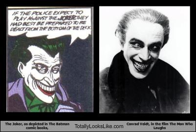 The Joker, as depicted in The Batman comic books, Totally Looks Like Conrad Veidt, in the film The Man Who Laughs