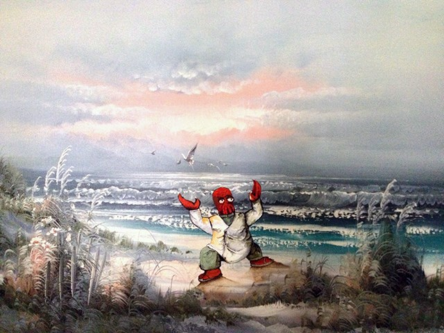 Artsy Fart of the Day: Artist Adds Pop Culture Objects and Characters to Old Thrift Store Paintings