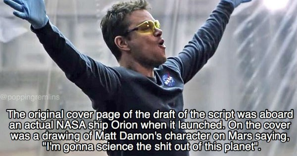 The Martian matt damon Fun Fact trivia movies - 1973509