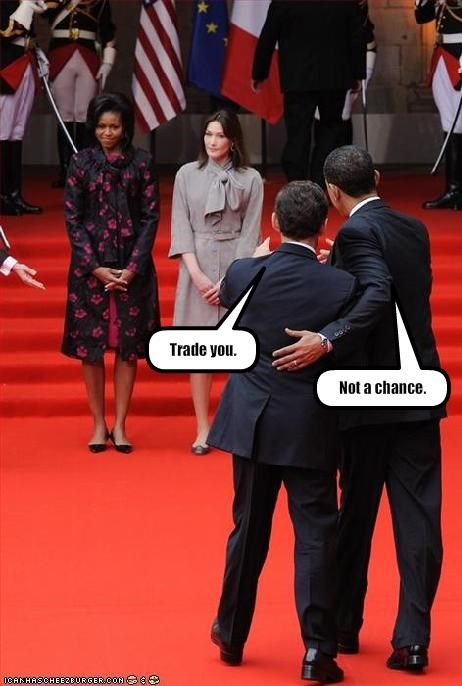 barack obama,Carla Bruni-Sarkozy,democrats,First Lady,france,Michelle Obama,Nicolas Sarkozy,president
