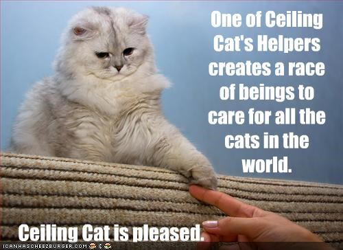 One of Ceiling Cat's Helpers creates a race of beings to care for all the cats in the world. Ceiling Cat is pleased.