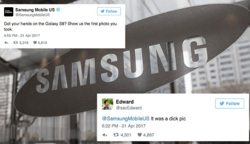 samsung trolling a guy who took a dick pic