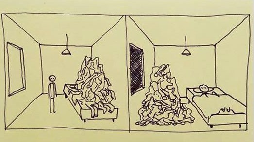 List of post-it drawings depicting situations from real life.