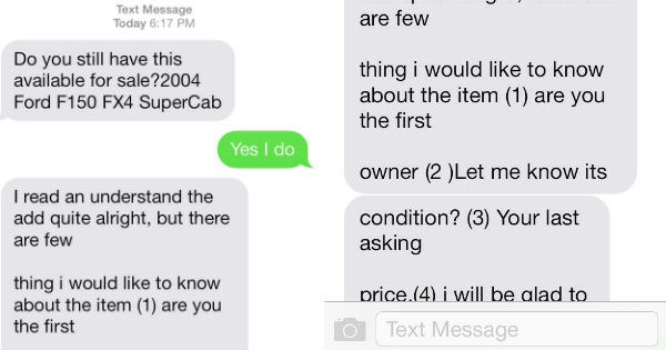Small car dealer trolls persistent spammer from craigslist ad in awesome texting conversation.