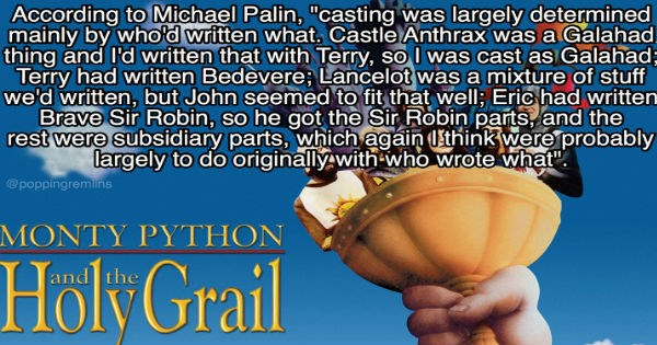 List of fun trivia facts about the movie Monty Python and the Holy Grail.