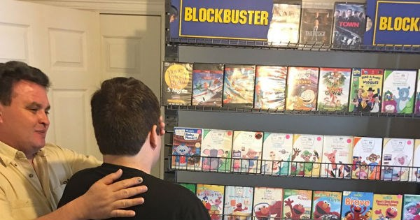 Awesome parents surprise their autistic son with homemade Blockbuster to cheer him up for the win.