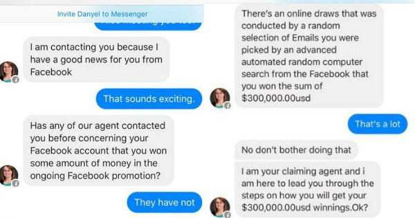 Guy trolls spammer on Facebook after they promise him a ton of cash in very funny conversation.