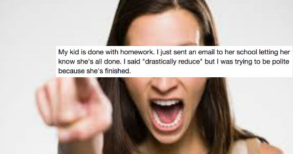 Mom goes on Facebook rant about how her daughter is done doing homework in school.