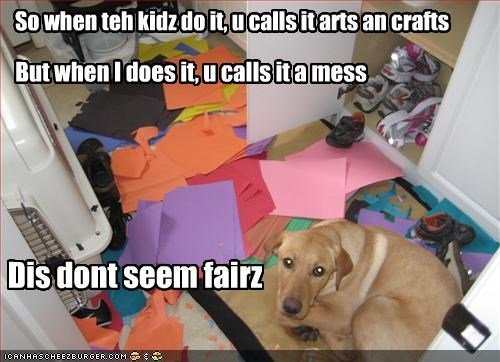 bad dog,destruction,FAIL,kids,mess,paper,unfair,yellow lab
