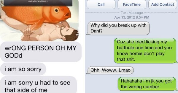 Collection of wrong number texts that were made hilarious by epic responses.