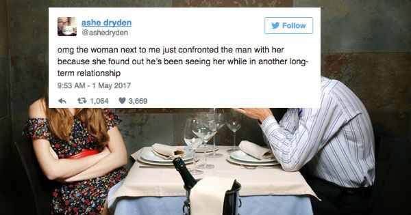 Woman live-tweets lengthy epic account of enraged lady breaking up with cheating boyfriend.