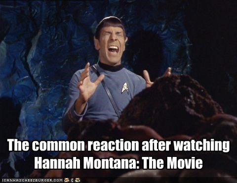 hannah montana horror Leonard Nimoy miley cyrus sci fi Spock Star Trek