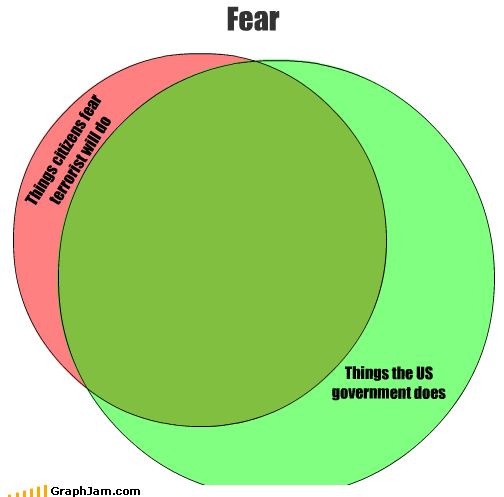Things citizens fear terrorist will do Things the US government does Fear