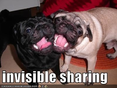 invisible mouth pug sharing tongue