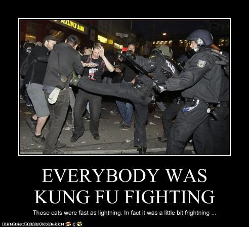 fighting kung fu martial arts police Protest protesters riot riot gear swat team