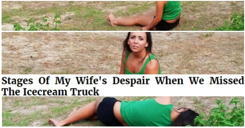 funny woman misses icecream truck