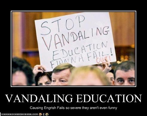 education FAIL misspelling protesters signs - 2114537728