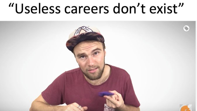"List of brutally funny memes cover pic of guy with flat brim hat with blue spinner and caption ""useless careers don't exist"""
