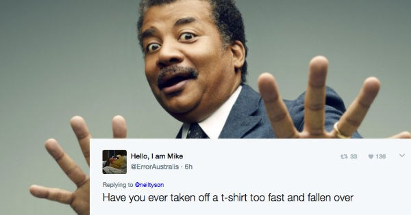 Neil deGrasse Tyson answers question on Twitter about taking shirt off, but it's very awkward taken out of context.