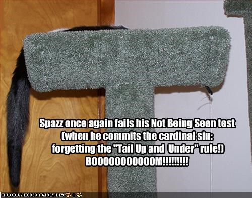 "Spazz once again fails his Not Being Seen test (when he commits the cardinal sin:  forgetting the ""Tail Up and  Under"" rule!) BOOOOOOOOOOOM!!!!!!!!!"