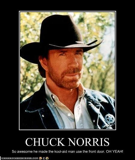 CHUCK NORRIS So awesome he made the kool-aid man use the front door. OH YEAH!
