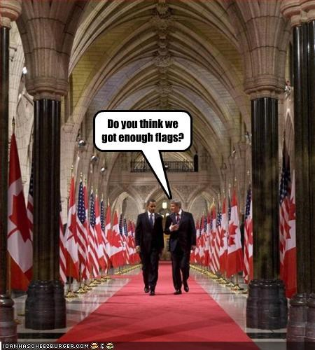 barack obama,democrats,flags,president,prime minister,stephen harper