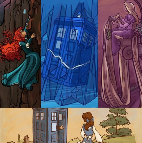 disney,Fan Art,disney princess,tardis