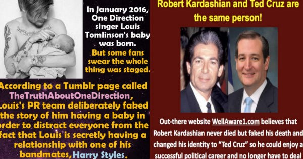 Collection of mind-blowing conspiracy theories - cover photo of Ted Cruz and One Direction conspiracies.