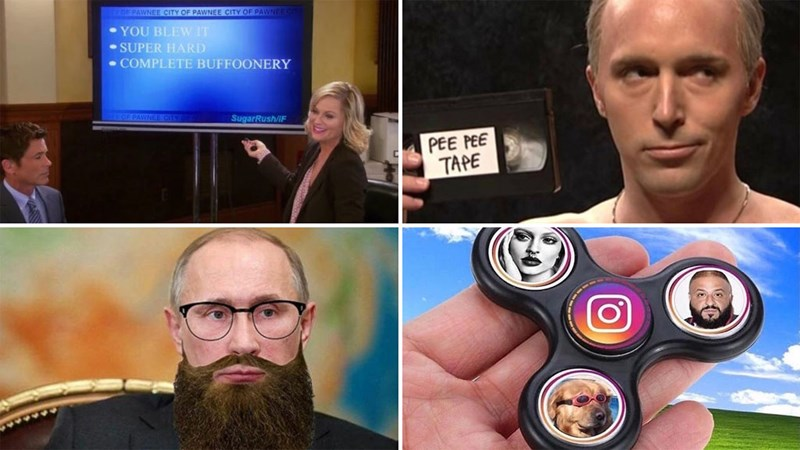 Collection of funny memes about dating, pizza, marvel, depression, weekend, school, parents, politics, vladimir putin, the office, parks and recreation, women, men, trump, weed, marijuana, cats, fidget spinners.