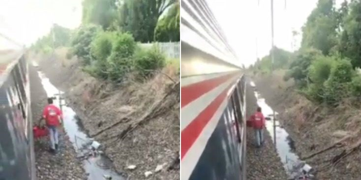Video of guy delivering pizza to passengers stuck on broken down AMTRAK train.