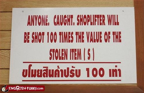 gun shoplifters shot signs stolen warning
