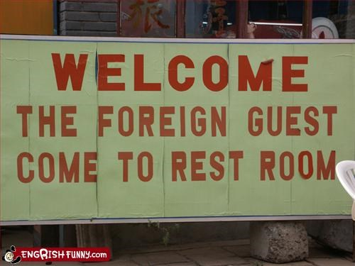 bathroom,foreign,Forest,g rated,guest,restroom,signs,welcome