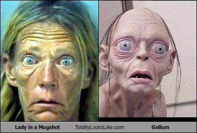 gollum,jrr-tolkein,lady,Lord of the Rings,mugshot,woman