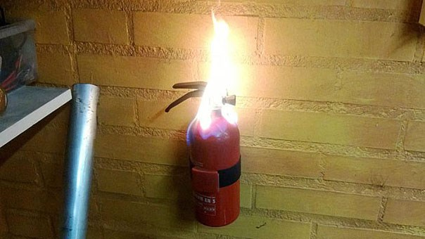 "Collection of funny photos that are ironic, for example: a fire extinguisher on fire, a fasteners sign unfastened, a stone that is inscribed with ""nothing is written in stone."""